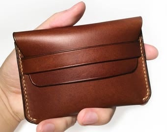 Leather card holder wallet/ Leather Wallet/ Dark brown/ Buttero leather/ Hand stitched