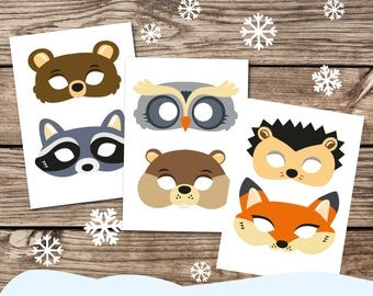 woodland animal masks template - woodland forest animals printable masks woodland animal mask