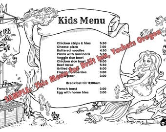 Custom Illustrated Coloring Kids Placemat, Resturant kids menu, OOAK birthday party placemat, children's illustrations, artist for hire.