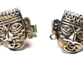 Vintage Sterling Silver Tiki Mask Aztec Warrior Cufflinks 25mm H Eagle 28
