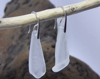Sea Glass Earrings//Frosted White Sea Glass Earrings//Isle Of Wight Sea Glass Earrings//Beach Glass earrings//Mothers day gift//Unique Gift