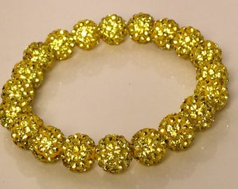 Yellow Stretch Bracelet, Sparkle Bracelet, Yellow Shamballa Bracelet, Disco Bead, Crystal Pave, Rustic Style, Stretch Bracelet
