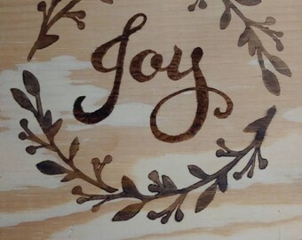 JOY holiday wood plaque