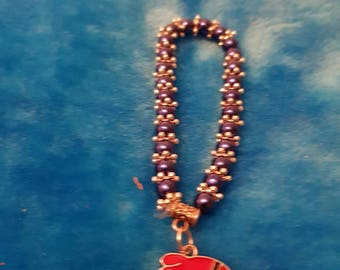 New kids 6mm Pearls Beads stretch bracelet with anger bird charm