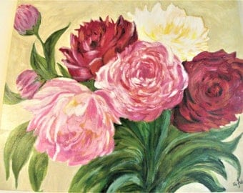 Bouquet of peonies oil on canvas