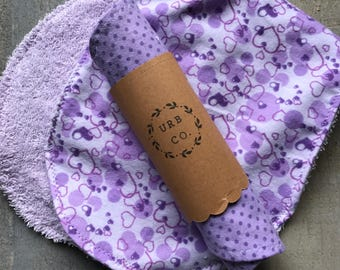 A set of two coordinating Burp Cloths