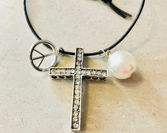 Handmade peace sign cross and pearl leather necklace