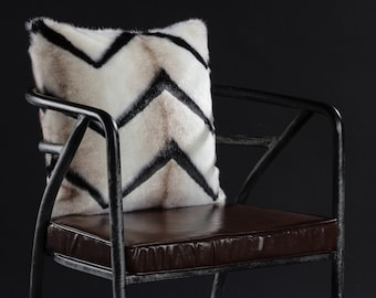Faux Fur Pillow Cover - White and Black, zebra, Faux Fur Mink