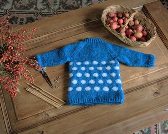 Hand-Knitted Baby Sweater in Polka Dot, soft and warm in 100% Baby Alpaca Wool