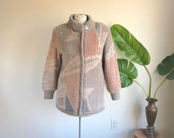 Vintage 80's Pink and Grey Coat Geometric Jacket