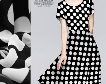 Black and White polka dot silk georgette sold by meter