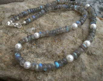 Labradorite necklace with Shell core beads #552