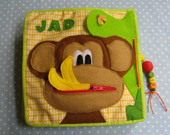 CUSTOM Quiet Book, A monkey Busy Book, Felt Activity Book, Educational Sensory Toy for Toddler and Baby, Gift for Kid 2-5 years