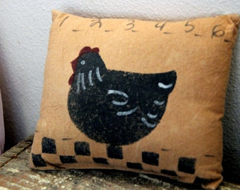Brown Vtg 90s Farmhouse Hen Rooster Image Pin Cushion Crafting Seamstress Tailoring Small Pillow