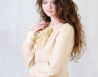 Eco-fashion, Beige Dress, wool dress,midi, winter dress, платье, валяное платье