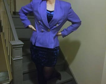 Very Violet 90s Double Breasted Power Blazer