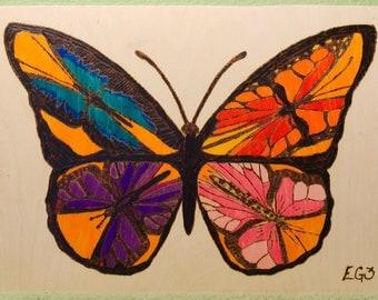 Wood Burned Butterfly of Butterflies