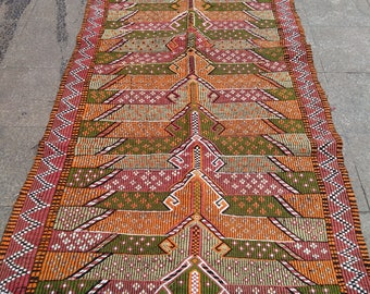 """Handmade kilim rug280x130cm 110""""x51"""",Turkish kilim rug,Anatolian kilim rug,vintage kilim rug,tribal kilim rug, Handmade kilim rug"""