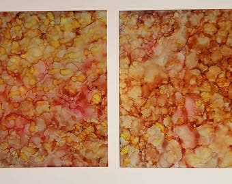 Alcohol ink set of prints in abstract titled 'A Warm Rain'