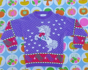 80s Unicorn Sweater // kawaii // fairy kei // mythical creature // lisa frank // kitsch // tacky sweater // pastel // Tokyo