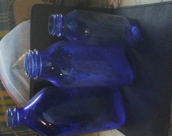Set of colbolt blue medicine bottles