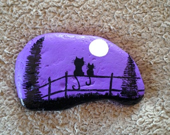 Two Cats Sitting on a Fence Hand Painted River Rock