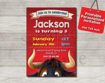 ferdinand the bull invitation, ferdinand movie invite,  Birthday party Invitation Printable (digital file)