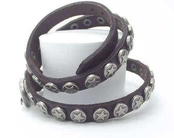 Genuine Leather Wristband, 3 Wrap, Brown Color Punk Style, Sale Items, Best Selling, Gift For Women, Free Shipping, Punk Style, Top Selling