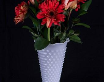 Anchor Hocking Hobnail Milk Glass Vase