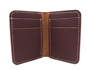 Handmade Bi-fold, Mens Bifold Wallet, Handmade Wallet, Leather Billfold, Brown Leather Wallet, American Made Wallet, minimalist wallet