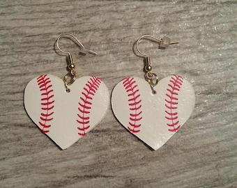 Baseball Leatherette Heart Personalizable Earrings