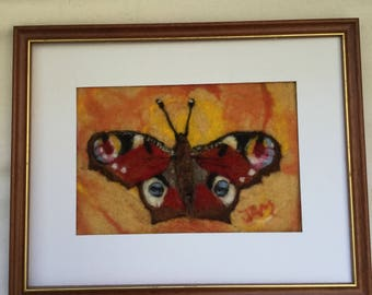 """Butterfly - needle felted wool """"painting"""""""