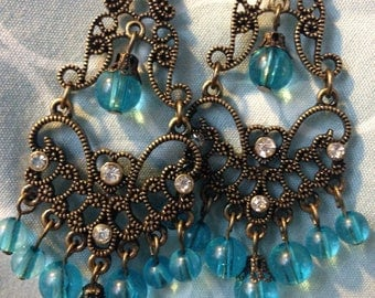 Bronze and Teal Dangle Earrings