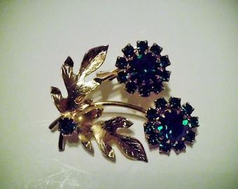 Green Rhinestone Gold Tone Flower Brooch