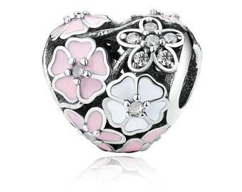 Beads For Bracelet  Silver BIG Flower HURT charm fit Pandora Bracelet ,Anniversary Gift,Birthday Gift, 100% Silver