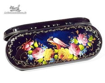 Glasses case, glasses case, glasses case hard sunglasses case box. Flowers. Jostovo school. (Ref:10.14 - 5).