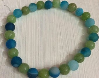 Jade and Agate Beaded Bracelet