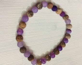 Picture Jasper and Fire Agate Beaded Bracelet
