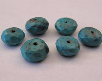 11-12mm Faceted Turquoise Gemstone Button Beads, Genuine Turquoise Gemstone Beads,Faceted Turquoise Beads,Turquoise Gemstone Beads (TQ-036)