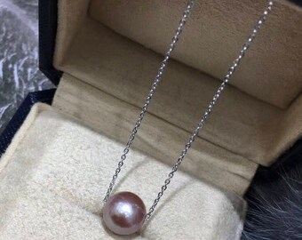 10-11mm Rare Pink Edison Pearl Necklace with Adjustable 925 Sterling Silver Chain Necklace, High Luster Pink Baroque Edison Pearl Necklace