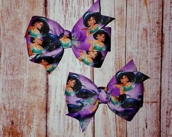 Jasmine bows, girls bows, toddler bows, character bows