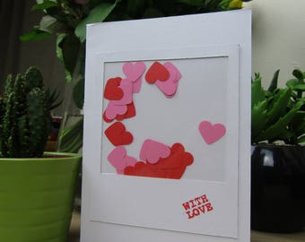 Valentine's day card with shaking hearts