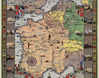 American Expeditionary Force Historical Map Replica Battle Lines Allied Zones, us, pre ww2, wwii, world war 2, ii, second. wwi, ww1, first