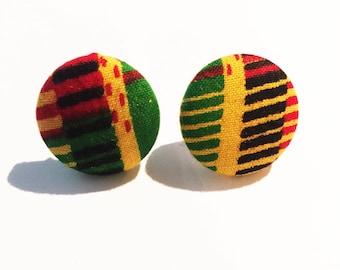 Button Earrings, Kente Cloth Earrings, African Earrings, African Earrings Ethnic Jewelry, Small Earrings, Tribal Earrings, Fabric Earrings