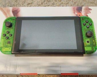 New Custom Clear Jungle Green Nintendo Switch Console & Joycons