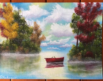 Serenity oil painting original signed boat on water