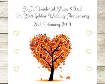 Golden 50th Wedding Anniversary Card, Personalised Card, Congratulations Greetings Card, Mum Dad Any Wording Date Personalized Handmade Card