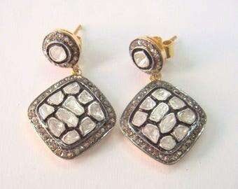 Victorian Rose Cut Diamond .925 Silver Polki Diamond Earrings Jewelry