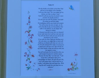 8x10 Matted Scripture Art Psalm 91