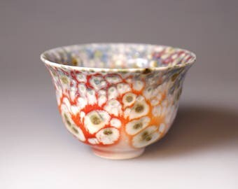 Glost-fired Earthen Teacup- Riched texture;Handmade;Taiwan pottery;Japan style;Ceramicware;gifts;pottery;Multi-coloured cup; tea ceremony